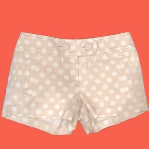 J Crew Light Beige White Polka Dot Cotton Shorts